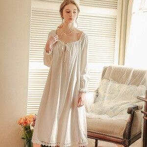 Image 3 - White Nightgown Sleepwear Lady Spring Autumn Long Sleeve Nightdress Loose Women Princess Nightgowns Comfortable