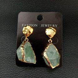 Natural Green Gems Flurite Nugget Golden Plated Earrings