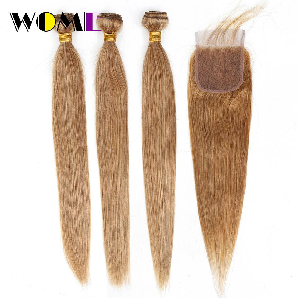 Wome Hair Malaysian Hair 3 Bundles With 4x4 Lace Closure Straight #27 Honey Blonde Human Hair Weave Double Weft Extensions