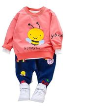 цены New Spring Autumn Baby Clothes Children Fashion Boys Girl Cartoon T Shirt Pants 2Pcs/set Toddler Casual Clothing Kids Tracksuits