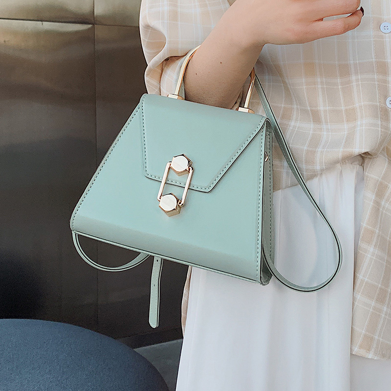 Solid Color Pu Leather Crossbody Bags For Women 2020 Summer Handbags With Iron Handle Mini Shoulder Messenger Bag