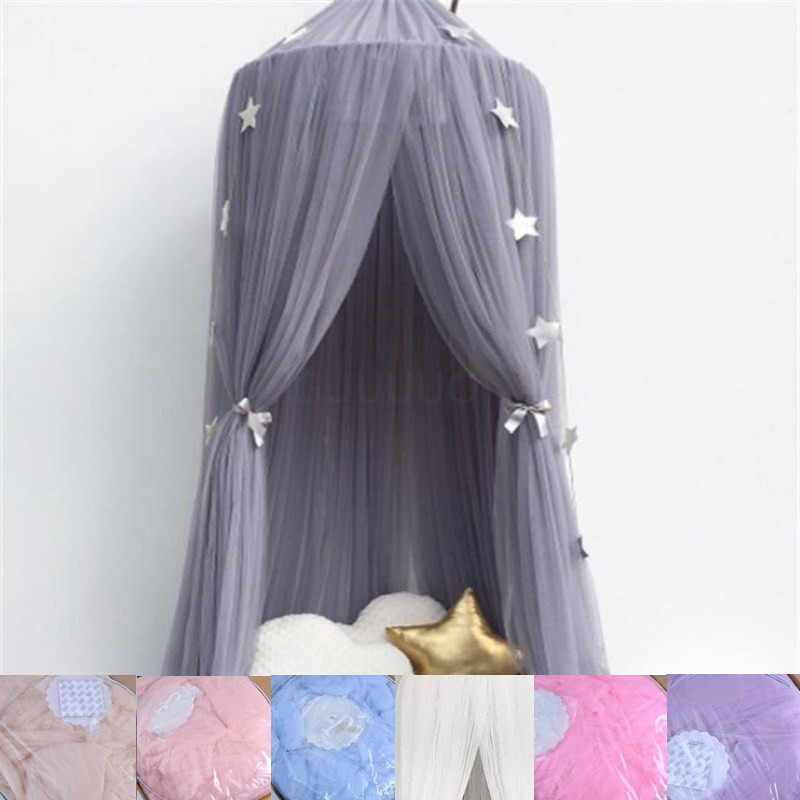 7 Colors Hanging Kids Baby Bedding Dome Bed Canopy Cotton Mosquito Net Bedcover Curtain For Baby Kids Reading Playing Home Decor