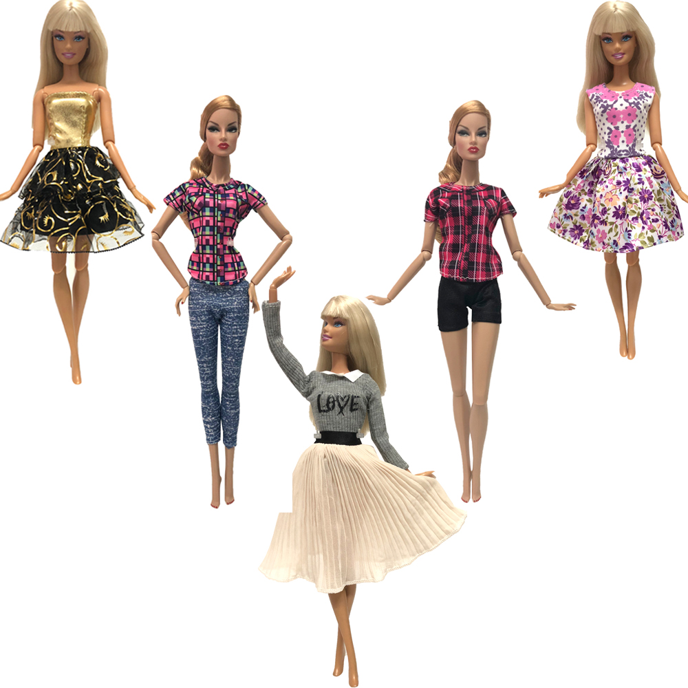 NK 5 Pcs/Set  Doll Dress Skirt Handmade Clothes  Fashion Outfit  For Barbie Doll  Accessories Child Toys  Girls' Gift 23B 3X