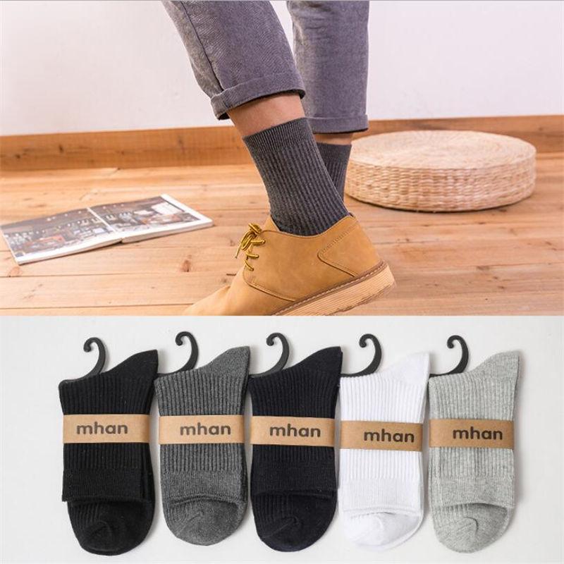 2019 Mens Cotton Socks New Styles 1 Pairs / Lot Black Business Men's Socks Breathable Fall Winter For Men American
