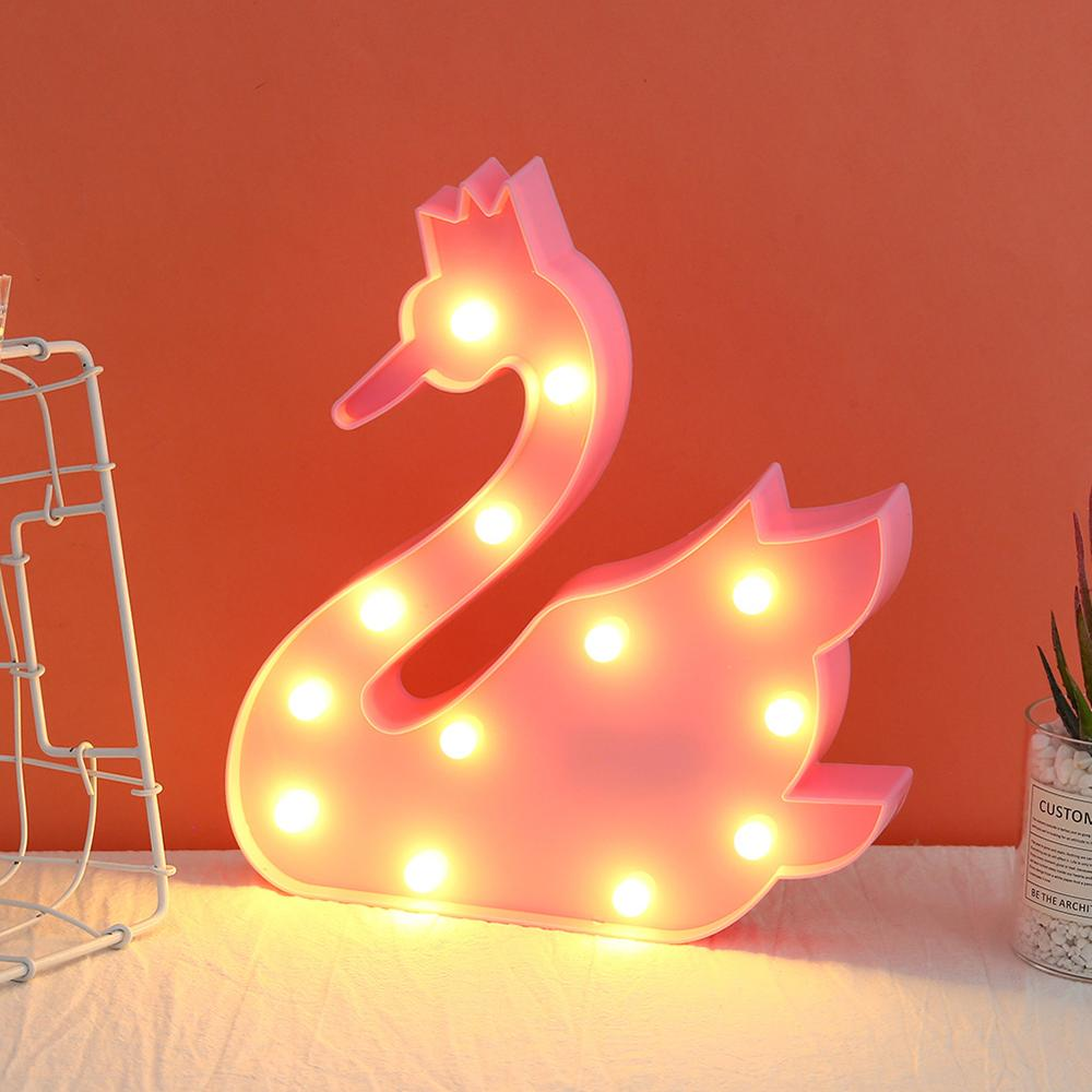 Cartoon Night Lights Swan LED Table Lamp For Children's Bedroom Decoration