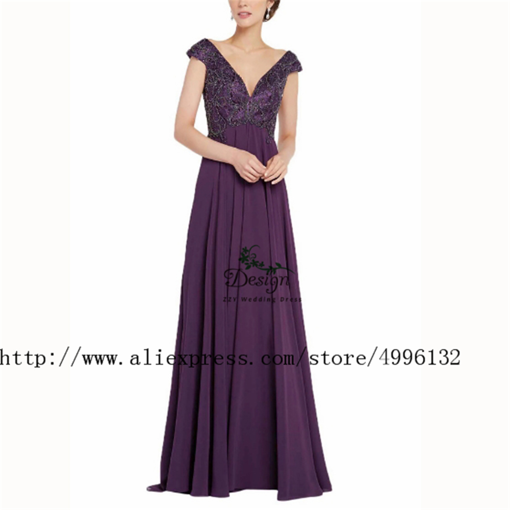 A-line Cap Sleeves Purple Beading Custom-Made Chiffon Mother Of The Bridal Dresses Women's Dresses Party Dinner Grown Dress