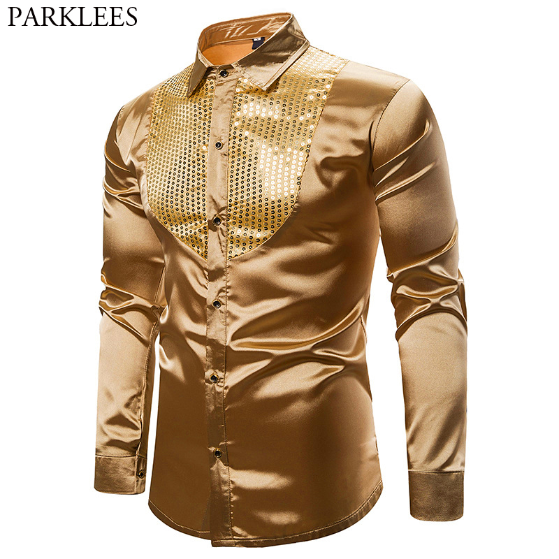 Mens Smooth Silk Satin Shirt Gold Sequin Tuxedo Shirt Party Stage Performance Wedding Dress Shirts Dance Club Chemise Homme XXL