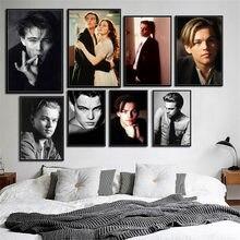 Leonardo dicaprio estrela de cinema ator lona poster cópias foto retrato fotos bar hotel café decoração da arte da parede mural a697