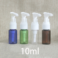 цена на 10ml Plastic Pump Bottle Green Brown Blue Transparent Cosmetic Lotion Cream Container Travel Hotel Use Package PET Free Shipping