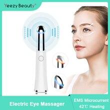 Vibration électrique masseur pour les yeux chauffé stylo de Massage des rides des yeux enlèvement du cercle foncé élimination des poches Anti âge outils de soins des yeux