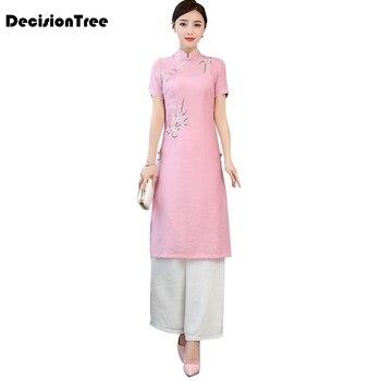 2020 vietnam ao dai qipao traditional dress qipao cheongsam dresses chiffon robe+pants chinoise aodai pieces suit
