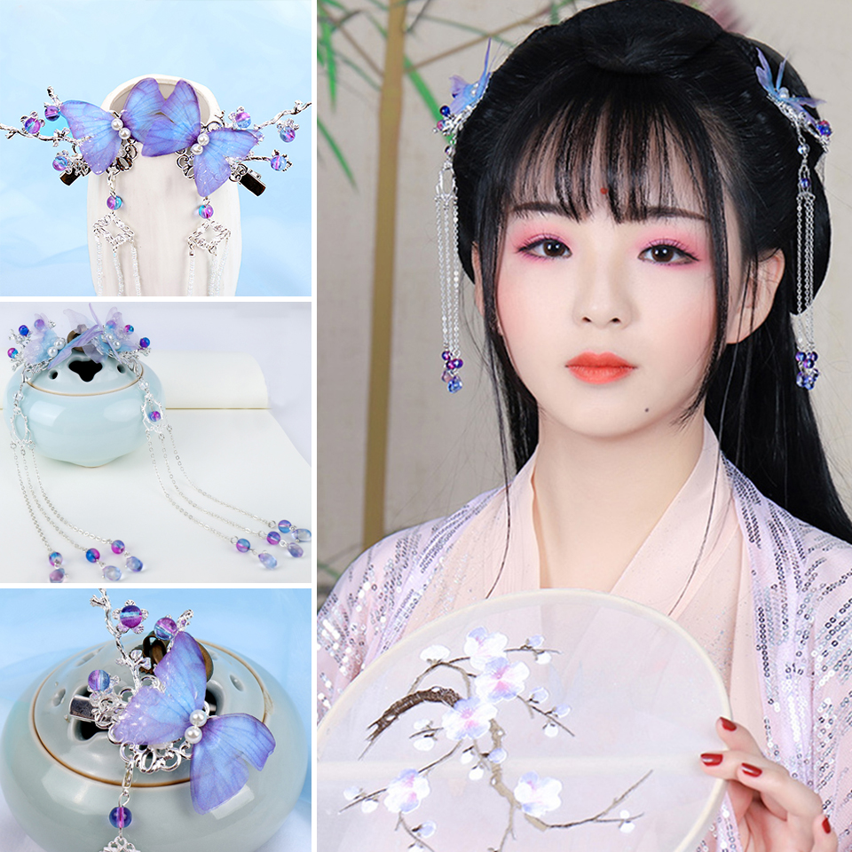Chinese Ancient Hanfu Long Tassel Hair Pins Crystal Beads Bridal Hairpins Bride Wedding Hair Jewelry Accessories