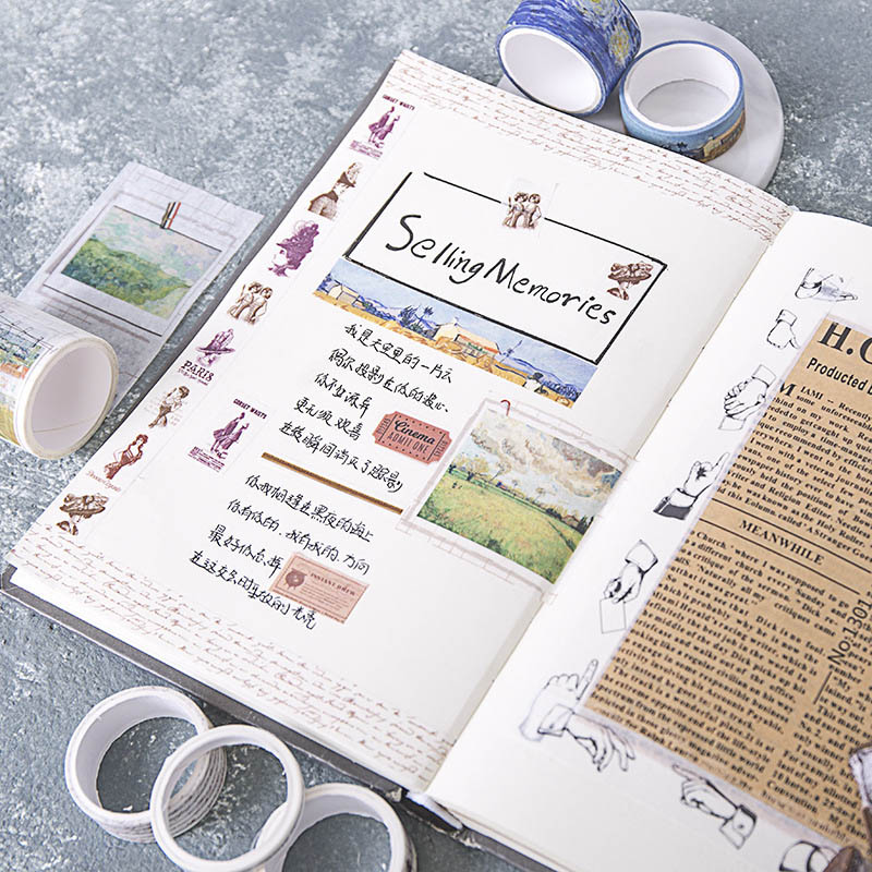 7Pcs/Set Van Gogh Masking Tape Vintage Travel Washi Tape Decorative Adhesive Tape For Sticker Scrapbooking Diary Stationery Tape
