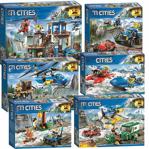 New City Series Mountain Police Blocks Police Headquarters Building Blocks Set Bricks Toys Children Gift 10865 Lepining 60174