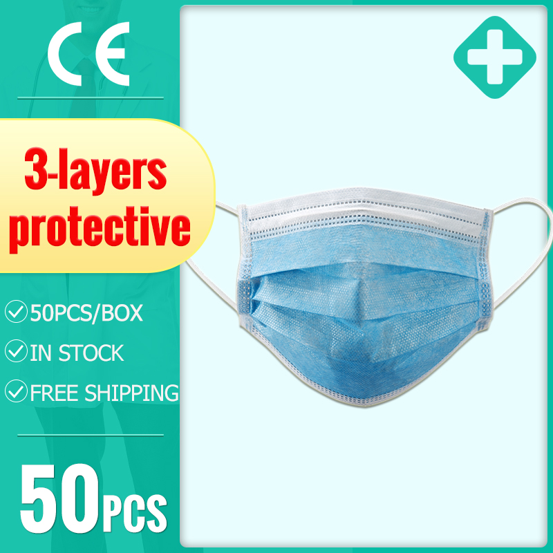 50pcs 3-layer Disposable Masks Protective Mask Face Mask Non-woven Anti-dust Meltblown Cloth Mask Feature Adult Earloop Masks