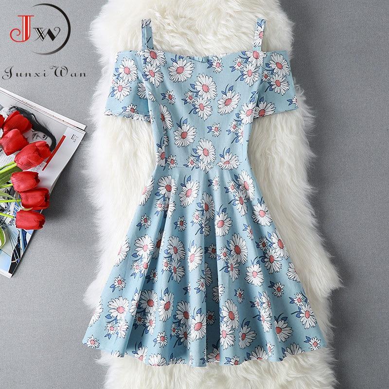 2020 Women Summer Spaghetti Strap Sexy Party Dress Floral Print Slash Neck A Line Cotton Vintage Dresses Plus Size Robe Femme
