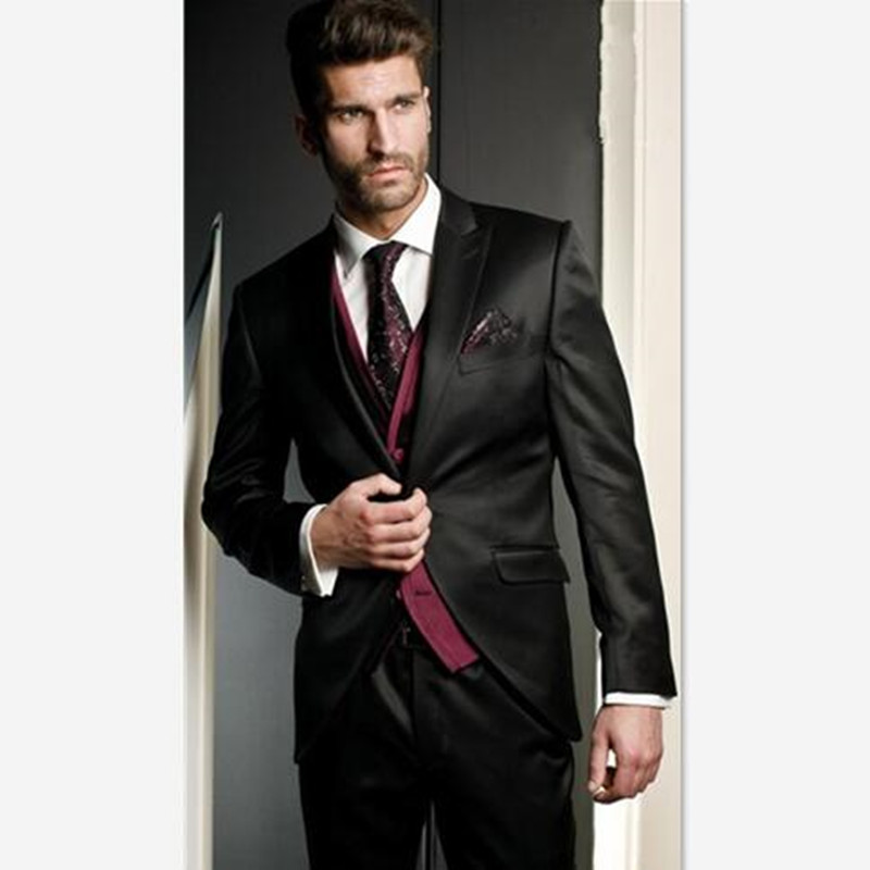 Terno Mens Suit (Jacket+Pants+Vest+Tie) New Arrival Groom Tuxedo Black Groomsmen Wedding/Dinner Suits Best Man Bridegroom