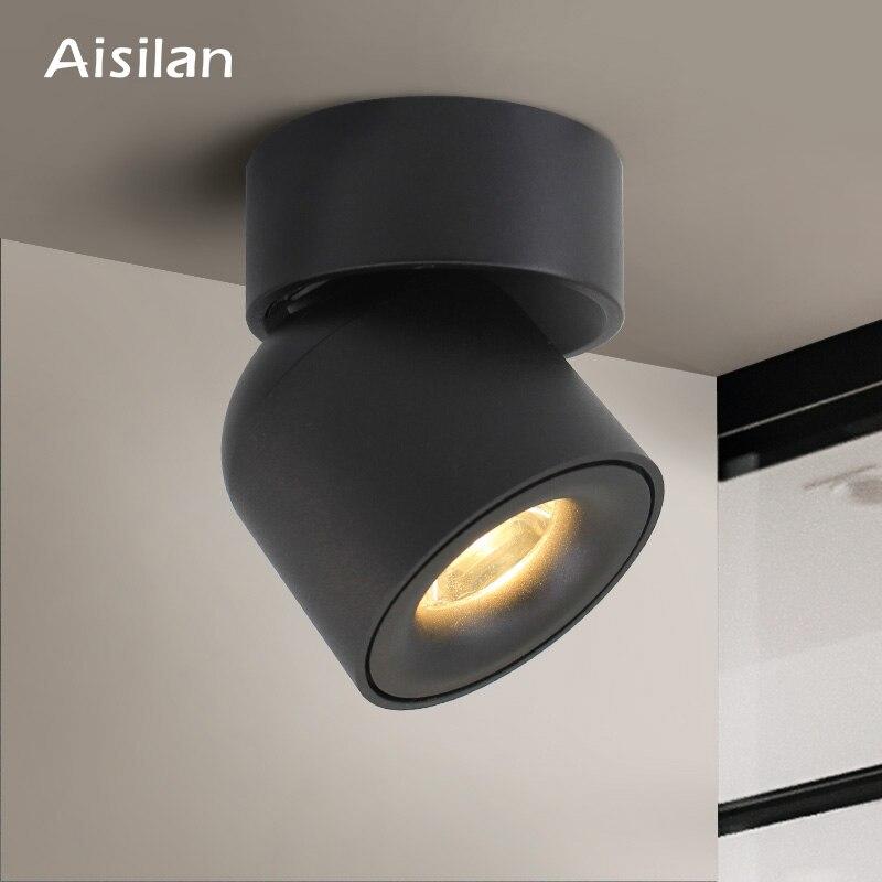 Aisilan led 표면 장착 천장 downlight 조정 가능한 90도 실내 로비, 거실 ac 90-260 v 북유럽 스포트 라이트