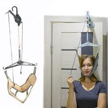 Kit de masajeador Cervical para el cuello, dispositivo de tracción Cervical por encima de la puerta, ajuste de Camilla, masajeador relajante de Cabeza trasera quiropráctica