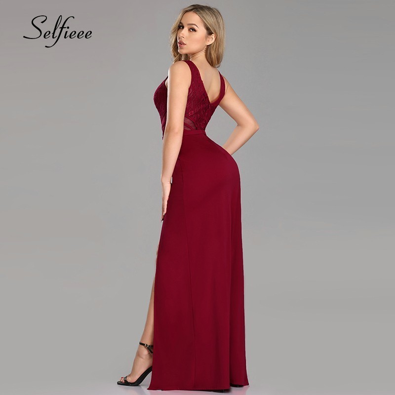 Sexy Club Dresses Long Ever Pretty V Neck Sleeveless Spaghetti Strap Robe De Soiree 2019 Burgundy Evening Gowns for Party in Dresses from Women 39 s Clothing