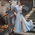 Fanshao небесно-голубого цвета хаки цветов длинное шифоновое вечернее платье платья со складками, с рюшами, без рукавов, с глубоким v-образным в...