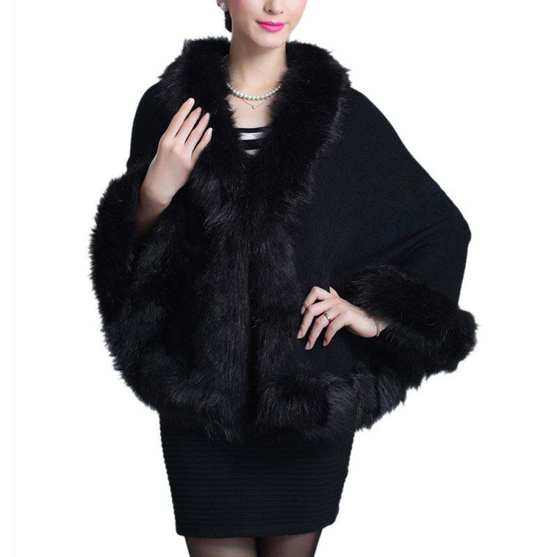 2019 Winter Women's Fur Coat Ponchos And Capes Black White Red Faux Fur Coats Wedding Dress Shawl Cape Shaggy Fluffy Outwear