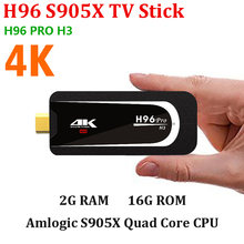 Android TV Stick H96 PRO H3 Amlogic S905X Quad Core Android 7,1 Dual Band WiFi 2GB RAM 16GB ROM H.265 4K Smart TV Stick(China)