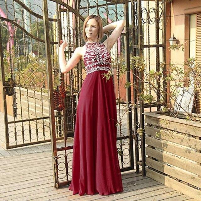 [التخليص بيع] فستان سهرة طويل رخيصة الثمن الشيفون مطرز كريستال رسمي نساء فساتين حفلات 48 ساعة الشحن
