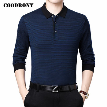 COODRONY Brand Sweater Men Spring Autumn Knitwear Pull Homme Business Casual Turn-down Collar Pullover Shirt Clothing C1082