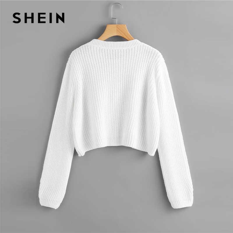 SHEIN สีขาวหลวม Fit Crop จัมเปอร์เสื้อกันหนาวผู้หญิงฤดูใบไม้ผลิฤดูใบไม้ร่วงรอบคอยาวแขนยาวเสื้อกันหนาวสบายๆ