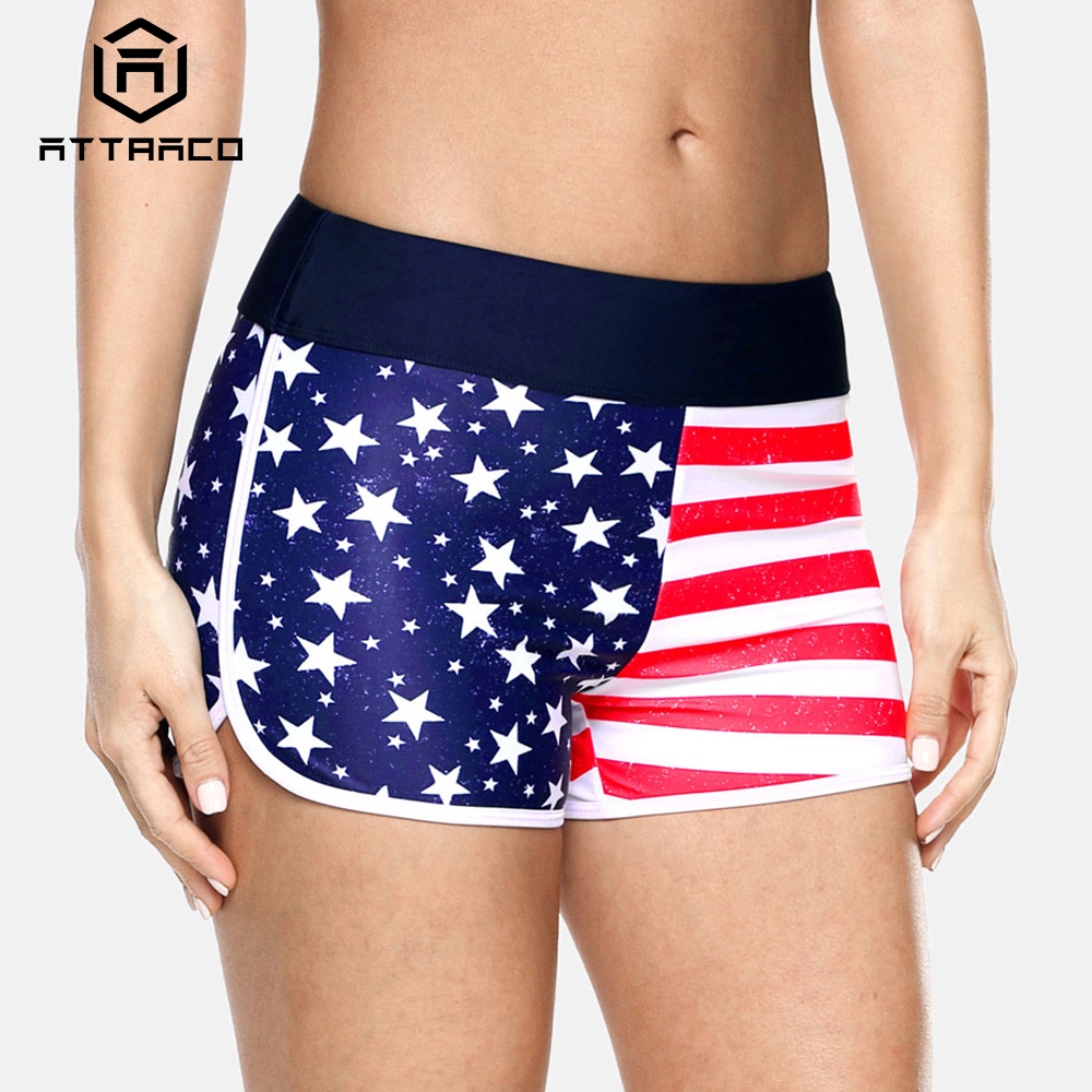Attraco Women Swimshorts American Flag Beach Shorts Swimwear Briefs Man Swimsuits Trunks Sea Short Bottoms