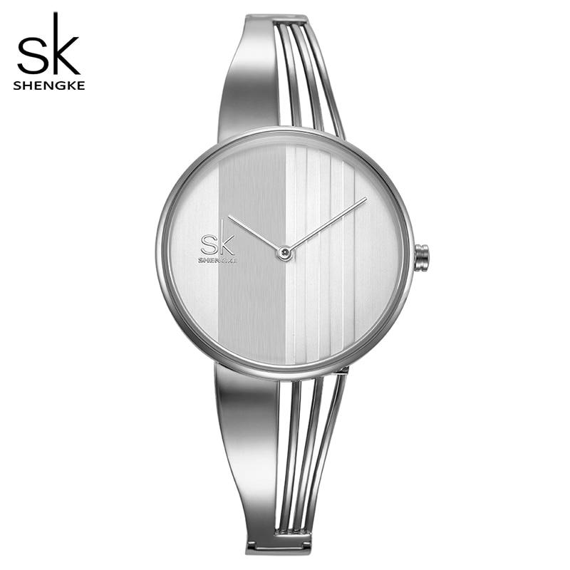Shengke Creative נשים שעונים צמידי גבירותיי שעוני יד צמיד קוורץ שעון נשים Montre Femme Relogio Feminino 2018שעונים לנשיםשעונים -