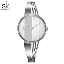 Shengkeクリエイティブ女性は腕輪レディース腕時計ブレスレットクォーツ時計女性montreのファムレロジオfeminino 2020