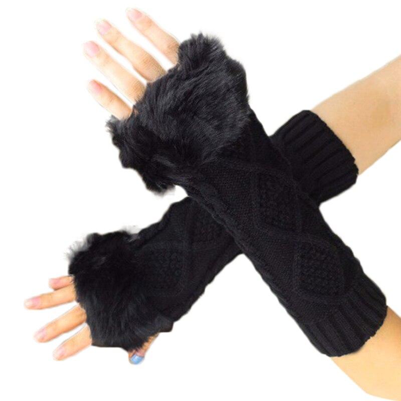 Women's Warmth Knitted Arm Fingerless Gloves 26cm Long Autumn Winter Hand Arm Warm Mittens Faux Rabbit Fur Gloves Female Gloves