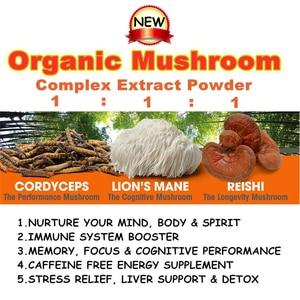 Organic Mushroom Complex Extract Powder(Lions Mane,Cordyceps Sinensis and Reishi) - Immunity,Wellness,Energy,Memory,Longevity