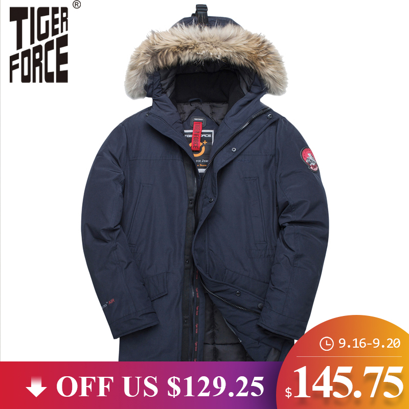 TIGER FORCE Winter Jacket For Men Parka Waterproof Warm Coat Alaska Jackets With Real Fur Hood Thick Male Snowjacket Outwear
