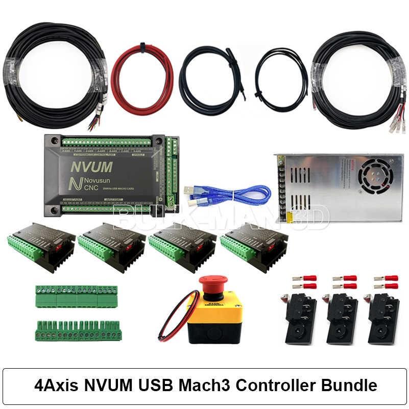 Kit de Machine de routeur de CNC WorkBee 4 axes + paquet de contrôleur Mach3 GRBL + paquet de chaîne de traînée de câble + 4 pièces moteurs pas à pas Nema23