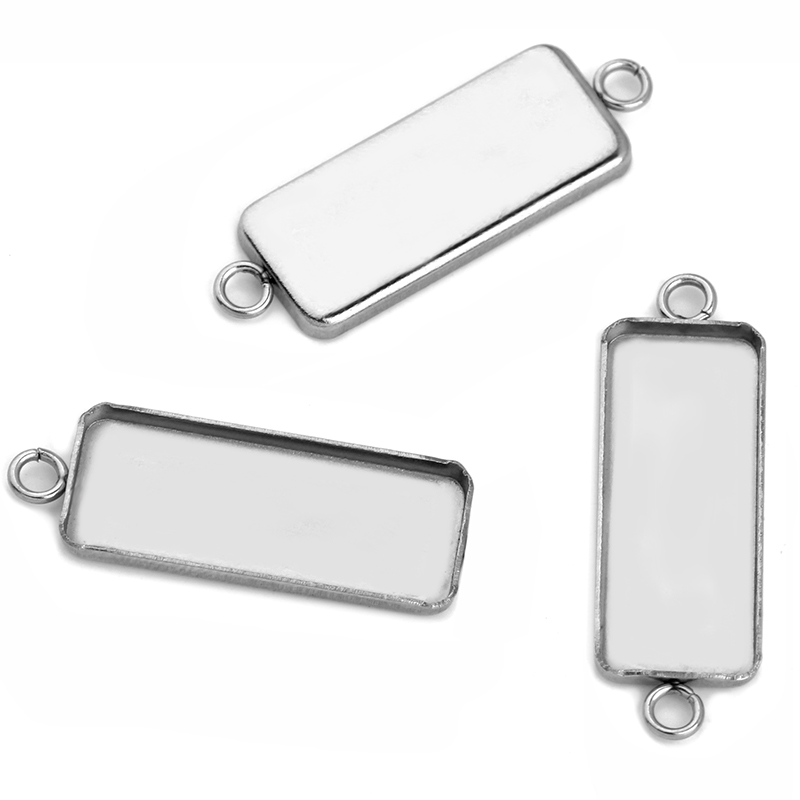 20pcs  NO Fade Stainless Steel Pendant Blank Base Empty Support DIY Fit 10*25MM Rectangular Accessories Jewelry Making Wholesale