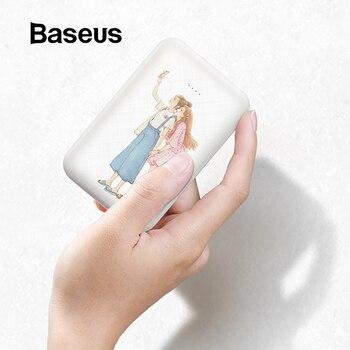 Baseus lindo 10000mAh Power Bank para iPhone Xs Max Samsung Huawei Mini Powerbank carga rápida cargador de batería externa portátil