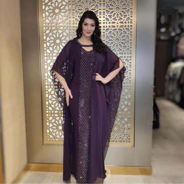 Abaya Boubou Muslim Dress Solid Batwing Sleeve African Dresses for Women Dashiki Chiffon Diamonds Indie Folk Casual and Lining 6