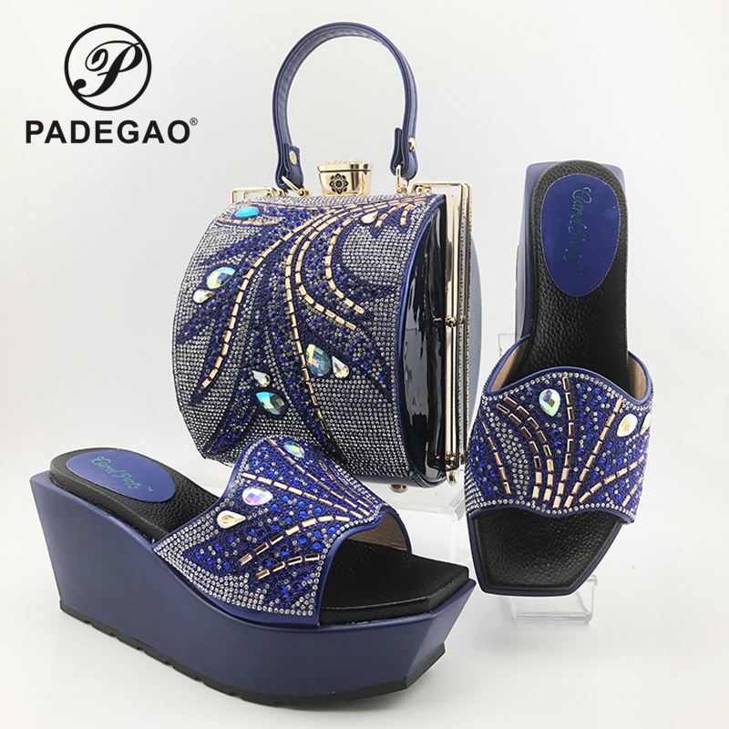 2020 Summer New Coming Italian Lady Shoes and bag to Match in Blue Color High Heels with Shinning Crystal for Wedding Party