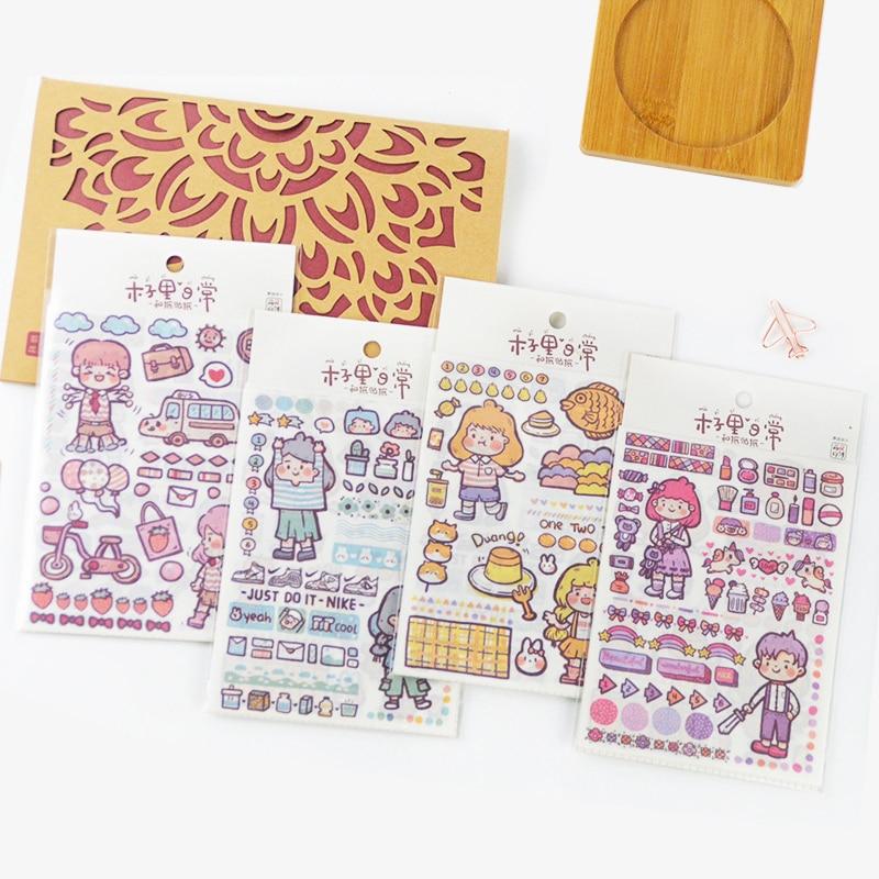 Mohamm 4 Sheets Cute Character Series Decorative Sticker Books Scrapbooking DIY Note Paper Sticker F