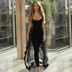 High Street Summer Fashion Sexy One Shoulder V Neck Black Women Bandage Jumpsuit 2020 Celebrity Designer Fashion Rompers