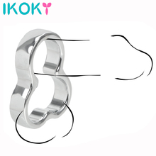 IKOKY Stainless Steel Cock Rings Delay Time Bondage Scrotal Ball Stretcher Sex Toys