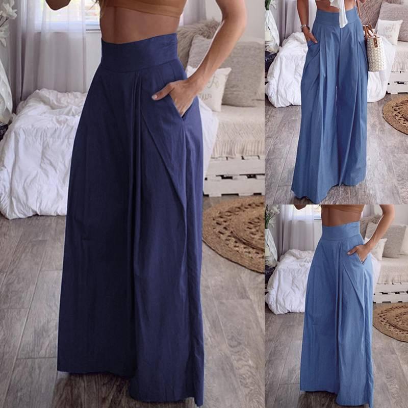 ZANZEA Women High Waist Wide Leg Pants Casual Pockets Long Trousers Back Zip Pants Office Work Chic Bottoms Pantalones Mujer 5XL