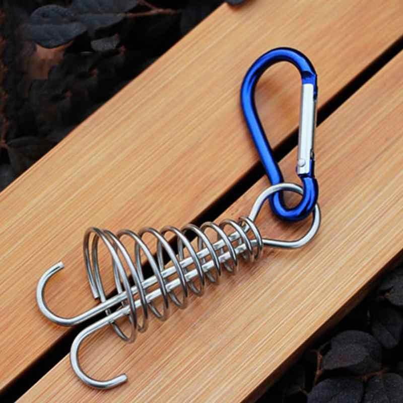 Durevole In Acciaio Inox Polpo Ponte Peg Corda Fibbia A Forma di Spirale Tenda Board Pioli con Moschettone Accessori Da Campeggio