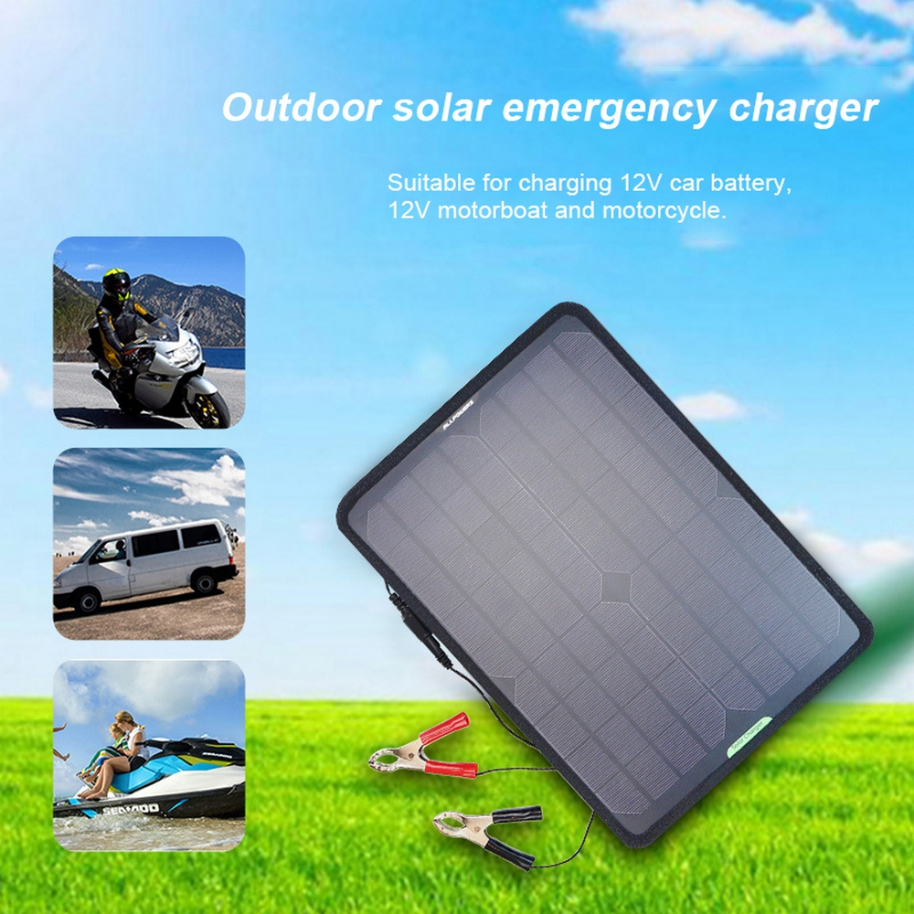 10W 12V Solar Panel Car Charger Solar Car Battery Maintainer Charger with Battery Clip for Vehicle Boat Motorcycle