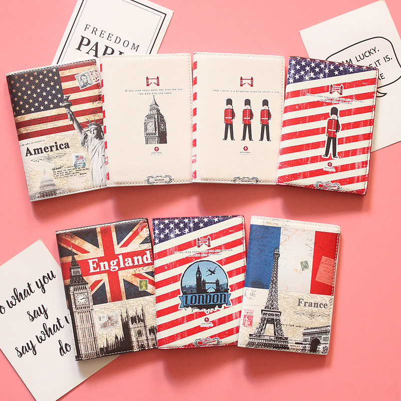 British And American France Passport Holder Women Men Protect Cover Case Organizer Case For Cards Dropshiping 1pc
