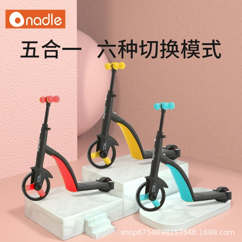 Nadle Children Scooter  5 in 1 Tricycle Baby 3 In 1 Balance Bike Ride On Toys Kids Bike Gift For 1-6 Years