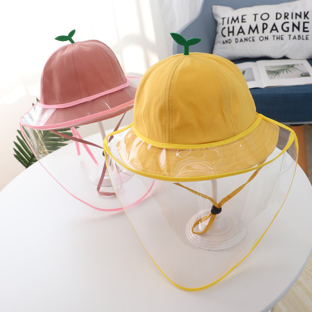 Baby Kids Bucket Hat Boys Girls Cap Protective Face Shield Cover Mask Detachable Sun Hats Anti Saliva Dustproof Fisherman Caps 3